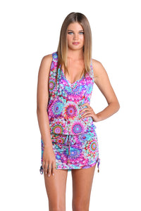 SOL BRILLANTE - Crochet Sexy Back Mini Dress • Multicolor