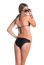 BEACH BABE - Molded Push Up Bandeau Halter Top & Multi Strings Full Bottom • Black