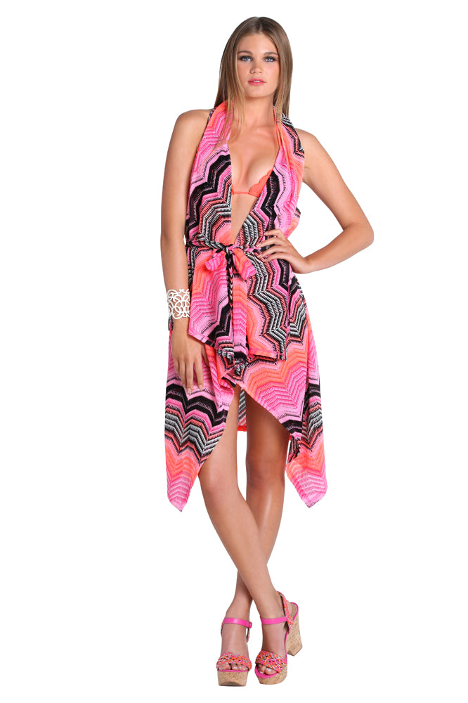 PINK CHAMPAGNE - Beach Wrap Crochet Vest • Multicolor