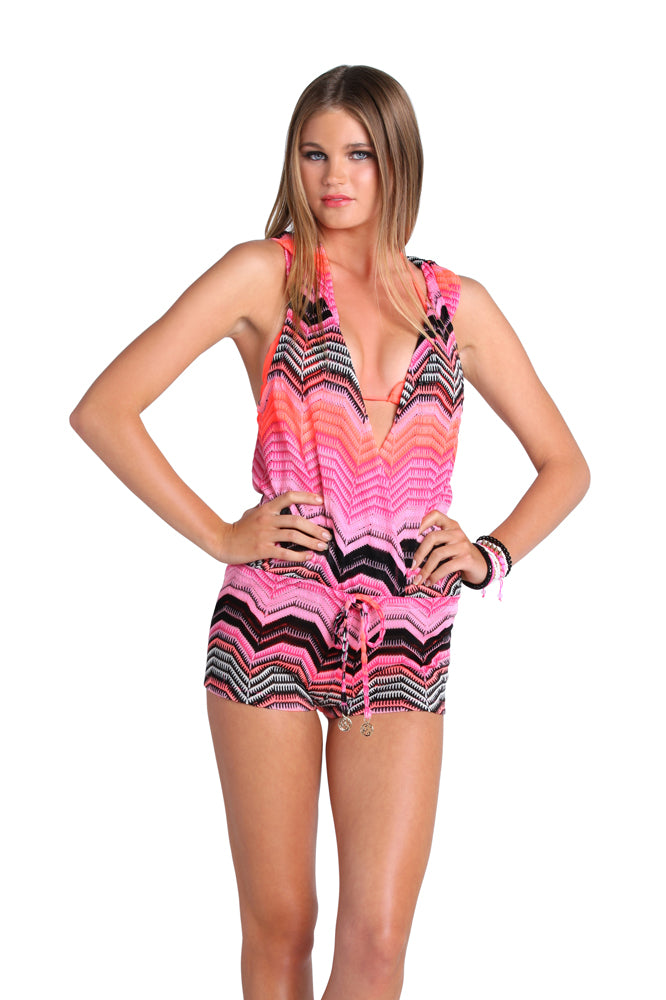PINK CHAMPAGNE - Crochet Hoodie Romper • Multicolor