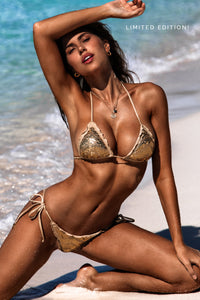 MERMAID - Wavey Triangle Top & Wavey Ruched Back Brazilian Tie Side Bottom • Gold Rush