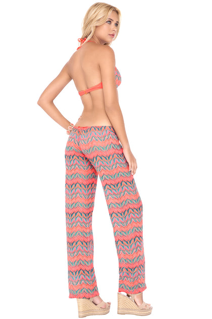 FUEGO DIVINO - Criss Cross Back Bra Top & Beach Pant • Multicolor