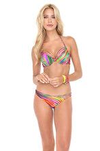 DREAMIN - Seamless Plunge Underwire Push Up Top & Strappy Front Side Moderate Bottom • Multicolor