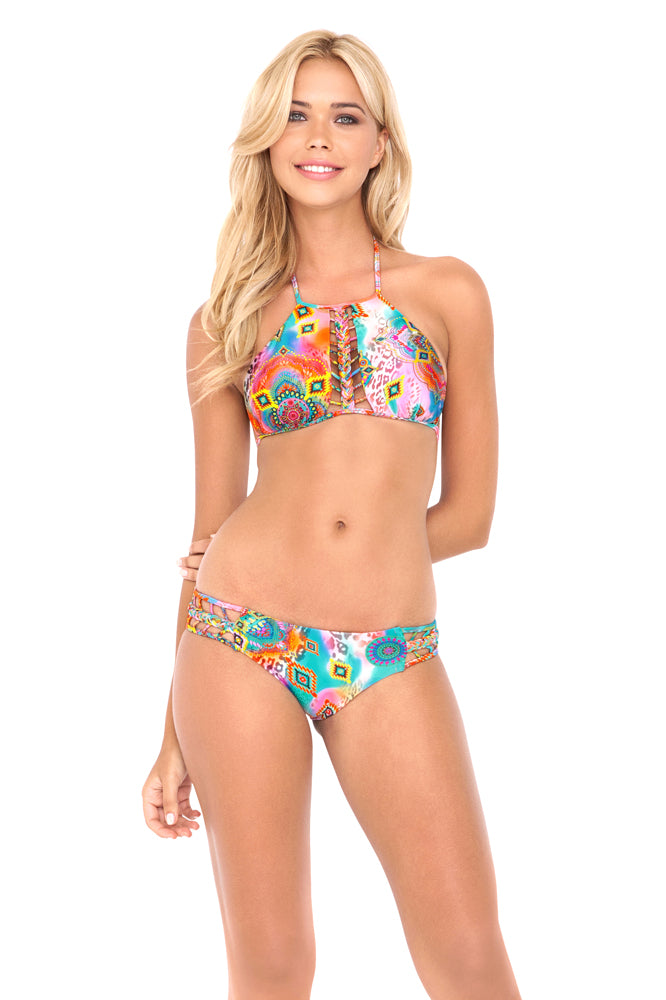 BOHO CHIC - Strings To Braid Halter Top & Full Bottom • Multicolor