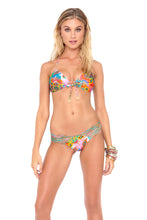 BOHO CHIC - Molded Push Up Bandeau Halter Top & Strappy Brazilian Ruched Back Bottom • Multicolor