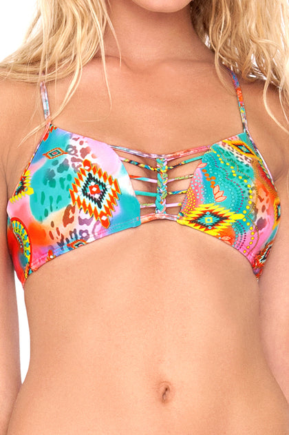 BOHO CHIC - Criss Cross Sporty Bra & Sandy Buns Braided Moderate Coverage Bottom • Multicolor