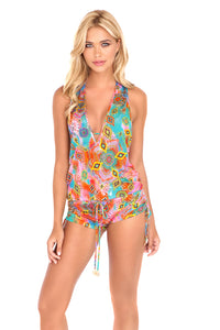 BOHO CHIC - T Back Romper • Multicolor
