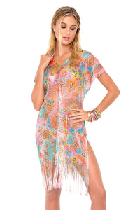 BOHO CHIC - Mesh Fringe Poncho Dress • Multicolor (874065461292)