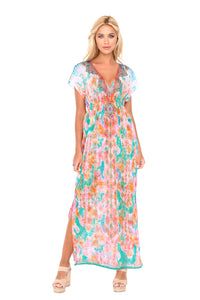 BOHO CHIC - Cap Sleeve Long Caftan • Multicolor
