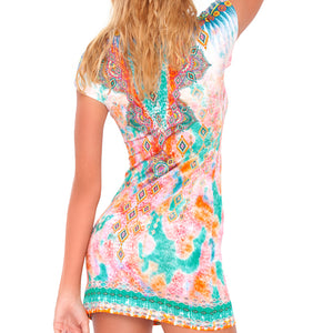 BOHO CHIC - Short Sleeve Bodycon Dress
