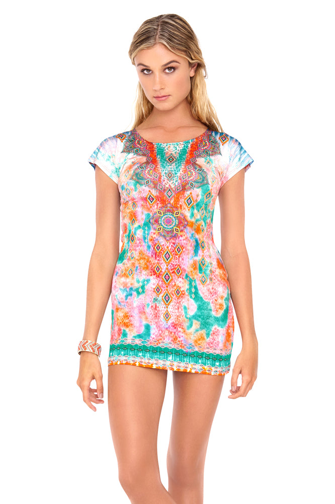 BOHO CHIC - Short Sleeve Bodycon Dress • Multicolor (874066509868)
