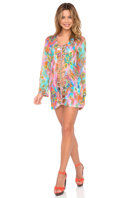 BOHO CHIC - Strings To Braid Plunge V Neck Dress • Multicolor