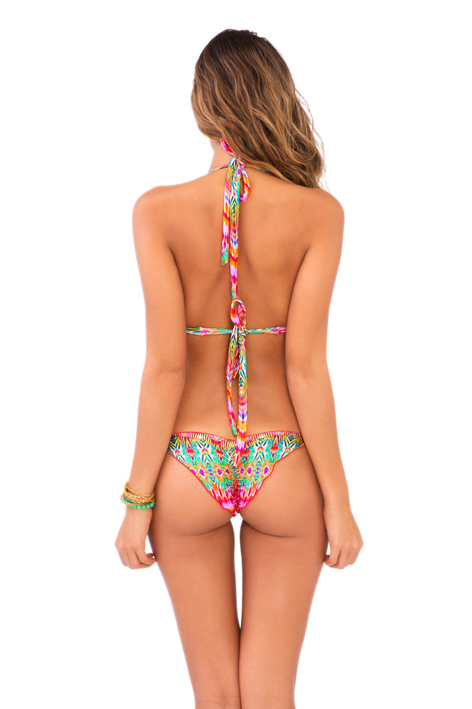 SUNKISSED LAUGHTER - Triangle Halter Top & Wavey Ruched Back Brazilian Tie Side Bottom • Multicolor