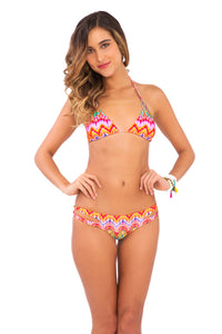 SUNKISSED LAUGHTER - Zig Zag Knotted Cut Out Triangle Top & Reversible Zig Zag Open Side Moderate Bottom • Multicolor