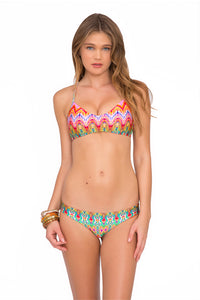 SUNKISSED LAUGHTER - Criss Cross Back Bra Top & Lo Rise Seamless Skimpy Bottom • Multicolor