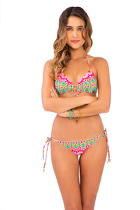 SUNKISSED LAUGHTER - Molded Push Up Bandeau Halter Top & Wavey Ruched Back Brazilian Tie Side Bottom • Multicolor