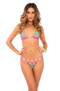 SUNKISSED LAUGHTER - Salt Life Cut Out Halter Top & Lo Rise Seamless Skimpy Bottom • Multicolor