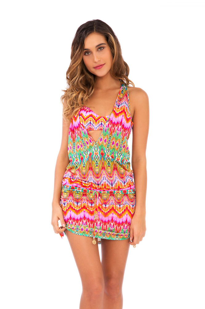 SUNKISSED LAUGHTER - T Back Mini Dress • Multicolor