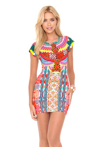 CHASING WATERFALLS - Short Sleeve Bodycon Dress • Multicolor (874076930092)