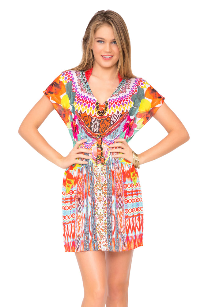 CHASING WATERFALLS - Cap Sleeve Short Caftan • Multicolor