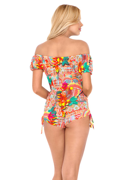 CHASING WATERFALLS - Off The Shoulder High Waist Romper • Multicolor
