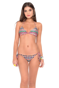 LIL GEM - Triangle Top & Wavey Ruched Back Brazilian Tie Side Bottom • Multicolor