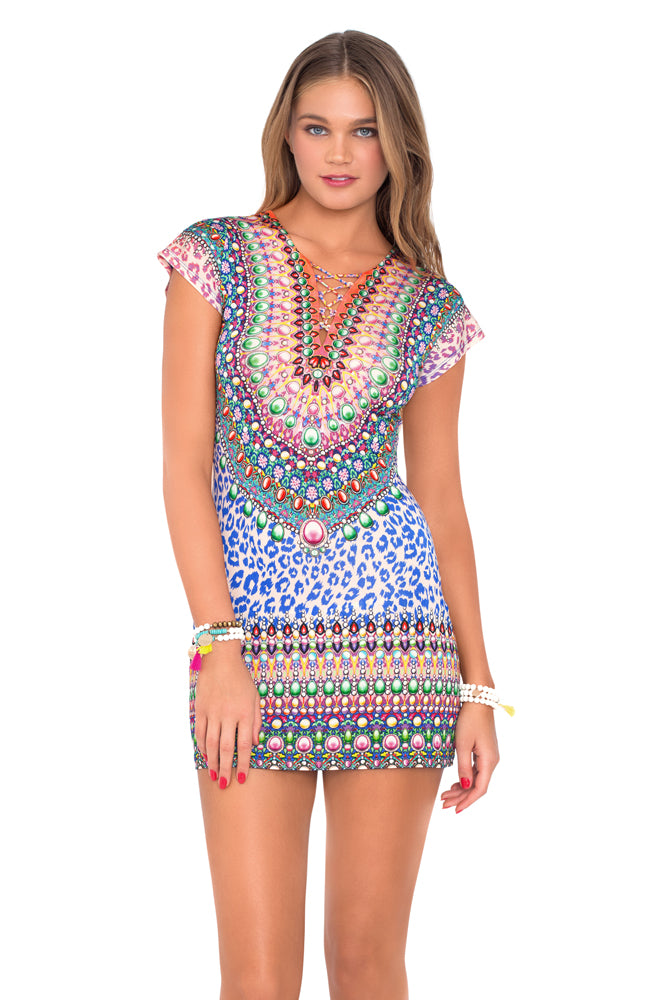 LIL GEM - Lace Up Short Sleeve Bodycon Dress • Multicolor