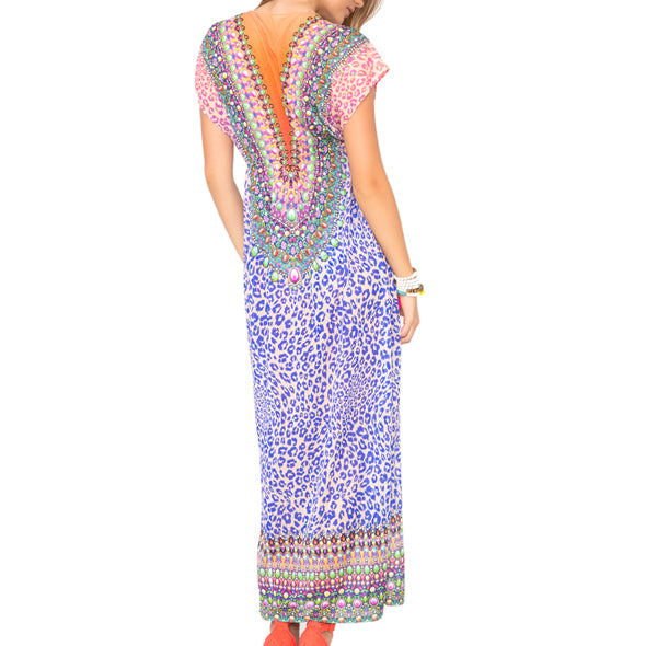 LIL GEM - Lace Up Cap Sleeve Long Caftan