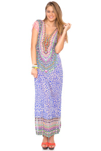 LIL GEM - Lace Up Cap Sleeve Long Caftan • Multicolor