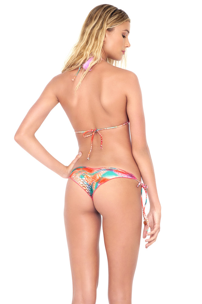 LIBERTAD TORNASOL - Wavey Triangle Top & Wavey Ruched Back Brazilian Tie Side Bottom • Multicolor