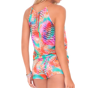 LIBERTAD TORNASOL - Crossed Multi Strings Halter Romper