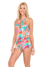 LIBERTAD TORNASOL - Crossed Multi Strings Halter Romper • Multicolor