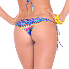 TRIBAL BEACH - Wavey Ruched Back Brazilian Tie Side Bottom