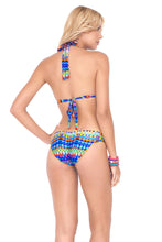 TRIBAL BEACH - Triangle Halter Top & Full Ruched Back Bottom • Multicolor