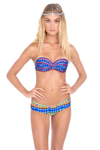 TRIBAL BEACH - Underwire Push Up Bandeau Top & Sandy Buns Minimal Coverage Bottom • Multicolor