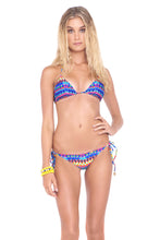 TRIBAL BEACH - Triangle Top & Wavey Ruched Back Brazilian Tie Side Bottom • Multicolor