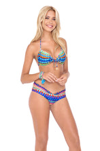 TRIBAL BEACH - Molded Push Up Bandeau Halter Top & Sandy Buns Moderate Coverage Bottom • Multicolor