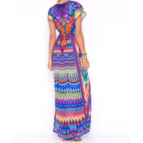TRIBAL BEACH - Cap Sleeve Long Caftan