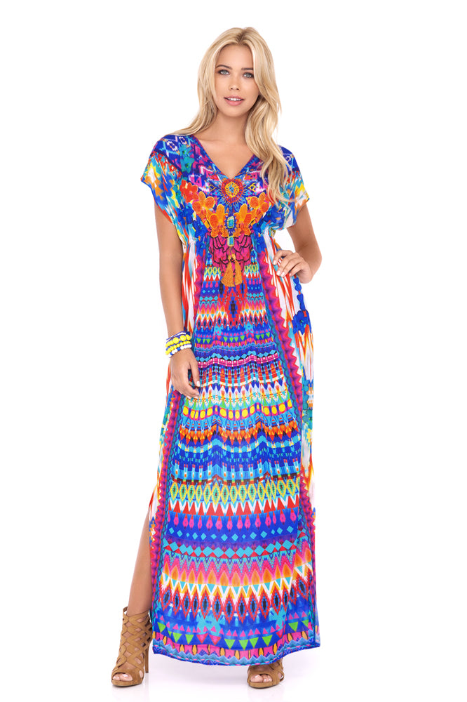 TRIBAL BEACH - Cap Sleeve Long Caftan • Multicolor (874178936876)