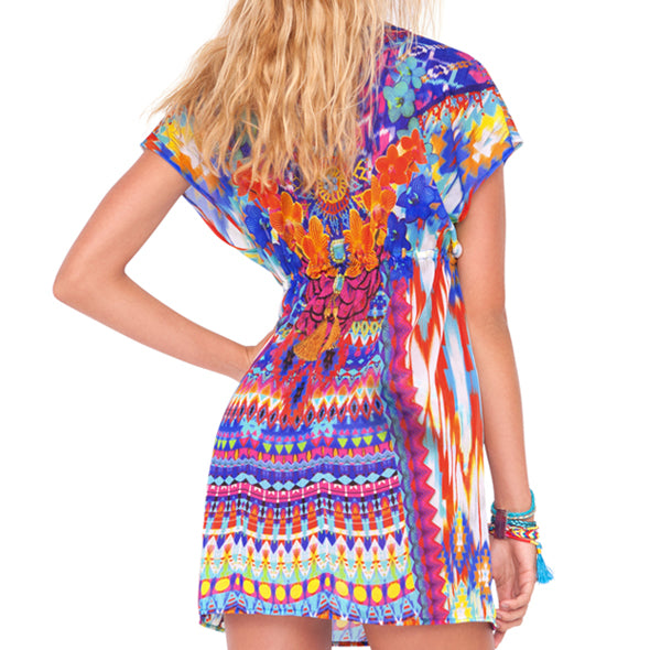 TRIBAL BEACH - Cap Sleeve Short Caftan