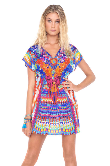 TRIBAL BEACH - Cap Sleeve Short Caftan • Multicolor