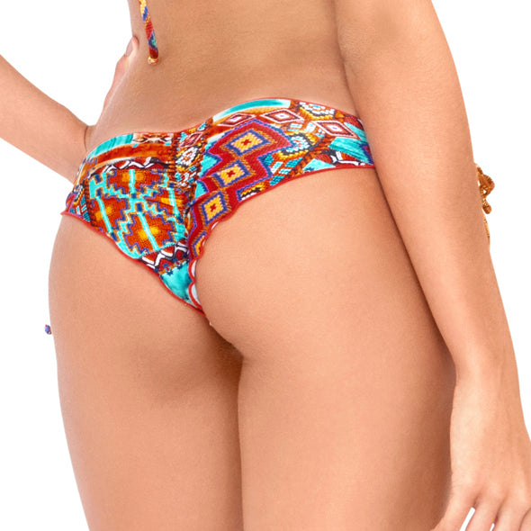 WILD & FREE - Wavey Ruched Back Brazilian Tie Side Bottom