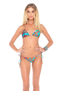 WILD & FREE - Triangle Top & Wavey Ruched Back Brazilian Tie Side Bottom • Multicolor