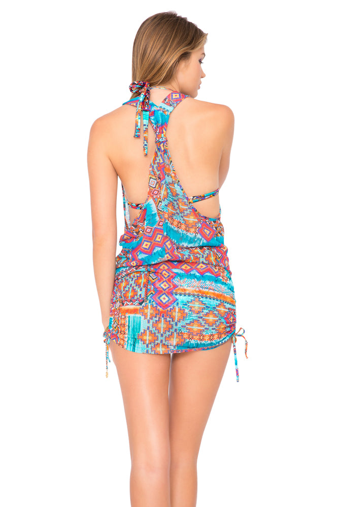WILD & FREE - T Back Mini Dress • Multicolor