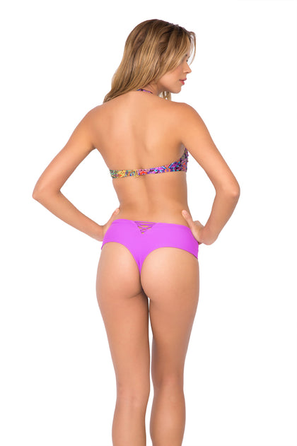 GIPSY SOUL - Underwire Push Up Bandeau Top & Cheeky Tied Up Back Bottom • Purple Ocean
