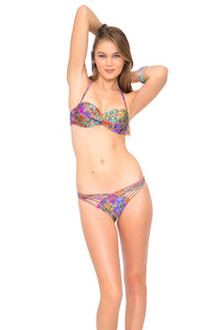 GIPSY SOUL - Underwire Push Up Bandeau Top & Strappy Brazilian Ruched Back Bottom • Multicolor
