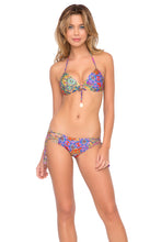 GIPSY SOUL - Molded Push Up Bandeau Halter Top & Criss Cross Sides Full Bottom • Multicolor