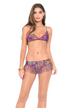 GIPSY SOUL - Cross Over Bra W  Adjustable Back Tie & Tasseled Skirt Band Moderate Bottom • Multicolor