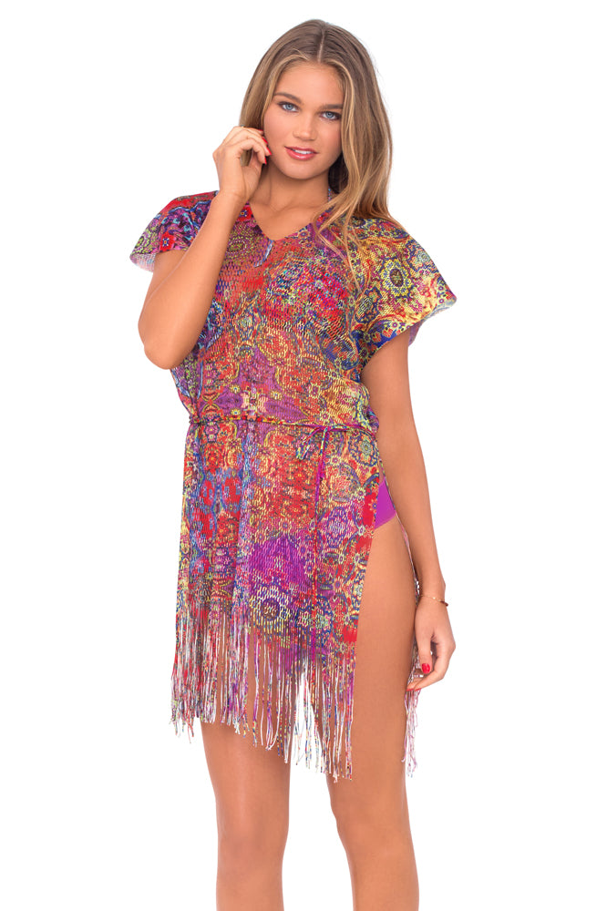 GIPSY SOUL - Mesh Fringe Poncho Dress • Multicolor
