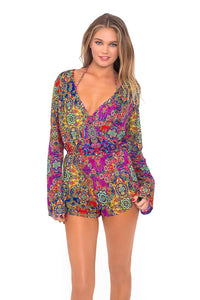 GIPSY SOUL - Wrap Front Long Sleeve Romper • Multicolor